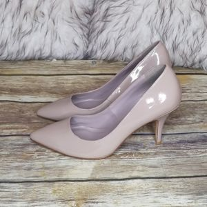 DUNE LONDON Taupe Patent Pumps